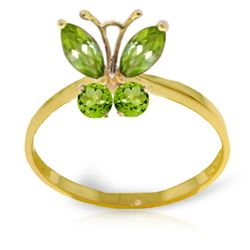 Genuine 0.60 ctw Peridot Ring Jewelry 14KT Yellow Gold - REF-28H9X