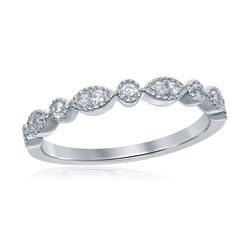 0.17 CTW Diamond Milgrain Stackable Ring 14KT White Gold - REF-24F2N