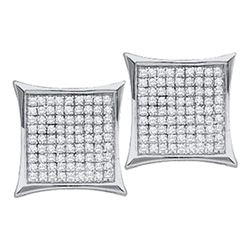 0.05 CTW Diamond Square Kite Cluster Stud Earrings 10KT White Gold - REF-4K5W