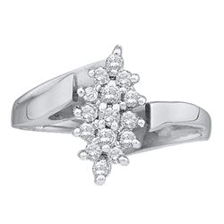 0.25 CTW Prong-set Diamond Oval Cluster Ring 10KT White Gold - REF-25X4Y