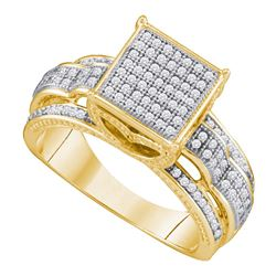 0.40 CTW Diamond Square Cluster Bridal Engagement Ring 10KT Yellow Gold - REF-44X9Y