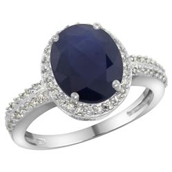 Natural 2.56 ctw Blue-sapphire & Diamond Engagement Ring 10K White Gold - REF-93N5G