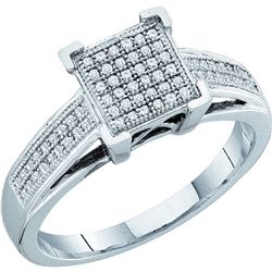 0.20 CTW Diamond Square Cluster Ring 10KT White Gold - REF-22Y4X