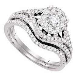 0.63 CTW Diamond Cluster Bridal Engagement Ring 14KT White Gold - REF-89Y9X