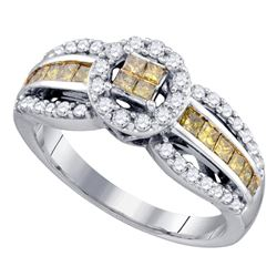 0.82 CTW Princess Yellow Color Diamond Cluster Ring 14KT White Gold - REF-63M2H