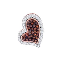 0.14 CTW Red Color Diamond Heart Pendant 10KT Rose Gold - REF-14K9W