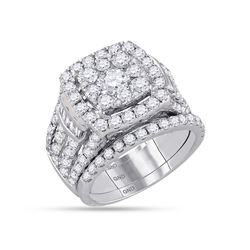 3.98 CTW Diamond Bridal Wedding Engagement Ring 14KT White Gold - REF-442H4M