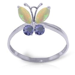 Genuine 0.70 ctw Opal & Tanzanite Ring Jewelry 14KT White Gold - REF-31V6W