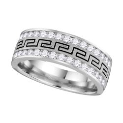 0.75 CTW Mens Diamond Grecco Wedding Anniversary Ring 14k White Gold - REF-89K9W