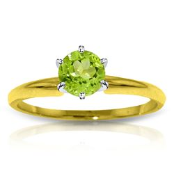 Genuine 0.65 ctw Peridot Ring Jewelry 14KT Yellow Gold - REF-26F9Z