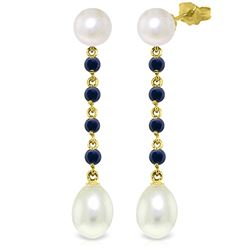 Genuine 11 ctw Pearl & Sapphire Earrings Jewelry 14KT Yellow Gold - REF-31N4R