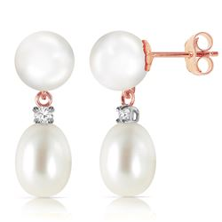 Genuine 10.10 ctw Pearl & Diamond Earrings Jewelry 14KT Rose Gold - REF-24N4R