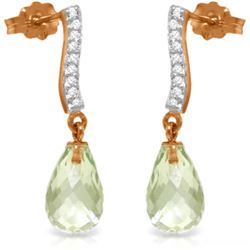 Genuine 4.78 ctw Green Amethyst & Diamond Earrings Jewelry 14KT Rose Gold - REF-46W2Y