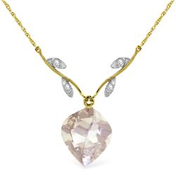 Genuine 12.82 ctw White Topaz & Diamond Necklace Jewelry 14KT Yellow Gold - REF-42W7Y