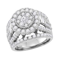 2.99 CTW Princess Diamond Flower Cluster Bridal Ring 14KT White Gold - REF-269W9K