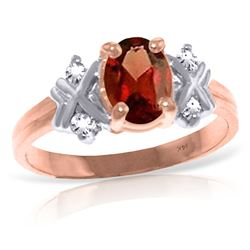 Genuine 0.97 ctw Garnet & Diamond Ring Jewelry 14KT Rose Gold - REF-59X2M