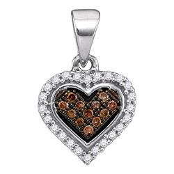 0.13 CTW Cognac-brown Color Diamond Heart Cluster Pendant 10KT White Gold - REF-8K9W