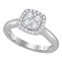 0.48 CTW Diamond Cluster Bridal Engagement Ring 14KT White Gold - REF-75X2Y