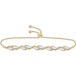 0.33 CTW Diamond Bolo Bracelet 10KT Yellow Gold - REF-59K9W