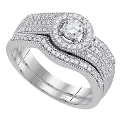 0.50 CTW Diamond Milgrain Triple Row Bridal Ring 10KT White Gold - REF-65Y9X