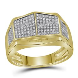 0.30 CTW Mens Diamond Symmetrical Arched Square Cluster Ring 10KT Yellow Gold - REF-44K9W