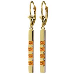 Genuine 0.70 ctw Citrine Earrings Jewelry 14KT Yellow Gold - REF-55W2Y