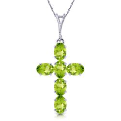 Genuine 1.50 ctw Peridot Necklace Jewelry 14KT White Gold - REF-32A8K