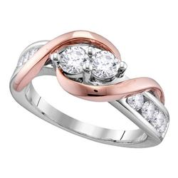 1.01 CTW Diamond 2-stone Bridal Wedding Engagement Ring 14KT Two-tone Gold - REF-112H5M