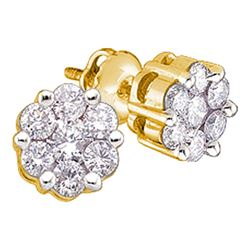 0.25 CTW Diamond Flower Cluster Earrings 14KT Yellow Gold - REF-24K2W