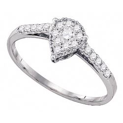 0.26 CTW Diamond Teardrop Ring 10KT White Gold - REF-19N4F
