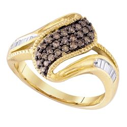 0.46 CTW Cognac-brown Color Diamond Cluster Ring 10KT White Gold - REF-32W9K