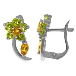 Genuine 1.72 ctw Citrine & Peridot Earrings Jewelry 14KT White Gold - REF-40V5W