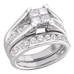 0.50 CTW Princess Invisible-set Diamond Bridal Ring 10KT White Gold - REF-44H9M