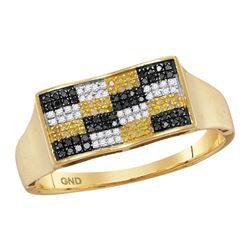 0.25 CTW Mens Black Yellow Color Diamond Checkered Cluster Ring 10KT Yellow Gold - REF-26N9F