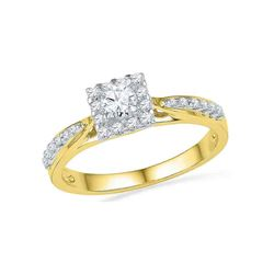 0.38 CTW Diamond Square Halo Bridal Engagement Ring 10KT Yellow Gold - REF-41Y9X