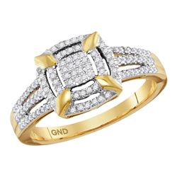 0.25 CTW Diamond Square Cluster Ring 10KT Yellow Gold - REF-30W2K