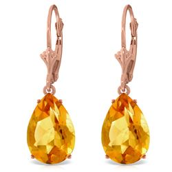 Genuine 10 ctw Citrine Earrings Jewelry 14KT Rose Gold - REF-45X3M