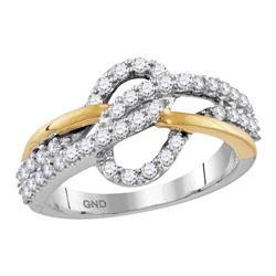0.62 CTW Diamond Woven Ring 10KT Two-tone Gold - REF-52F4N