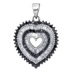 0.90 CTW Black Color Diamond Framed Heart Pendant 10KT White Gold - REF-34M4H
