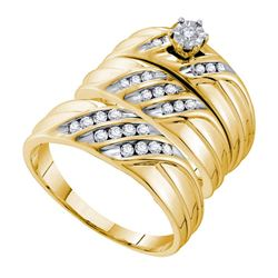 0.38 CTW His & Hers Diamond Solitaire Matching Bridal Ring 14KT Yellow Gold - REF-79N4F