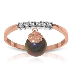 Genuine 2.1 ctw Black Pearl & Diamond Ring Jewelry 14KT Rose Gold - REF-33N7R