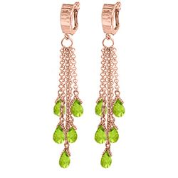 Genuine 7.3 ctw Peridot Earrings Jewelry 14KT Rose Gold - REF-62X3M