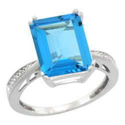 Natural 5.42 ctw Swiss-blue-topaz & Diamond Engagement Ring 14K White Gold - REF-61R9Z