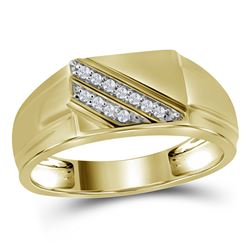 0.08 CTW Mens Diamond Diagonal Row Flat Top Fashion Ring 10KT Yellow Gold - REF-18F2N