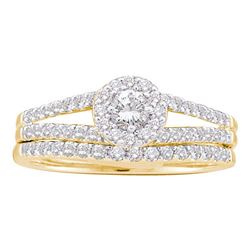 0.63 CTW Diamond Split-shank Bridal Engagement Ring 14KT Yellow Gold - REF-67X4Y