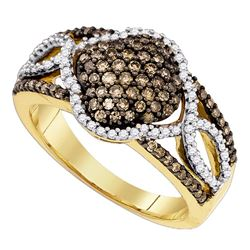 0.68 CTW Cognac-brown Color Diamond Cluster Ring 10KT Yellow Gold - REF-44X9Y