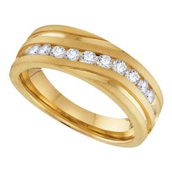 0.50 CTW Mens Diamond Wedding Ring 10KT Yellow Gold - REF-59X9Y