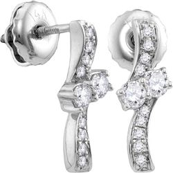 0.25 CTW Diamond 2-stone Hearts Together Stud Earrings 14KT White Gold - REF-30M2H