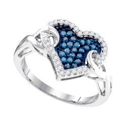 0.33 CTW Blue Color Diamond Heart Cluster Knot Ring 10KT White Gold - REF-26M9H