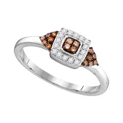 0.20 CTW Brown Color Diamond Square Cluster Ring 10KT White Gold - REF-18F2N